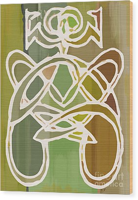 Unique Earthy Ethnic Woman Abstract Print For Interior Design Wood Print by Marie Christine Belkadi