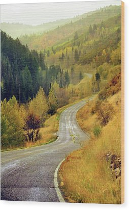 Curve Mountain Road With Autumn Trees Wood Print by Utah-based Photographer Ryan Houston