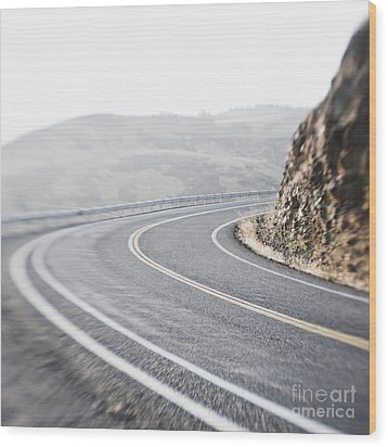 Curving Two Lane Road Wood Print by Jetta Productions, Inc