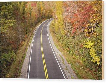Curvy Road Blue Ridge Parkway, North Carolina Wood Print by Lightvision, LLC