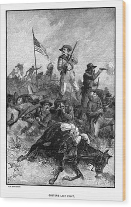 Custers Last Fight Wood Print by Granger