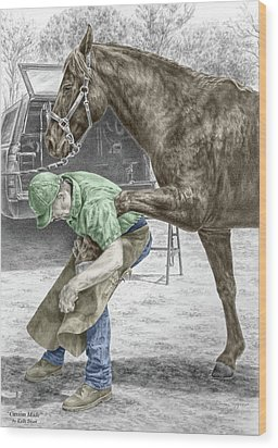 Custom Made - Farrier And Horse Print Color Tinted Wood Print by Kelli Swan