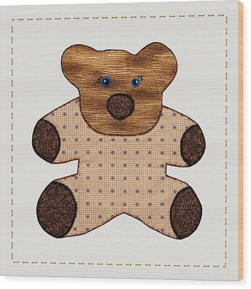 Cute Country Style Teddy Bear Wood Print by Tracie Kaska