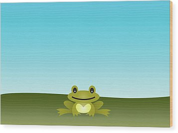 Cute Frog Sitting On The Grass Wood Print by © Roctopus