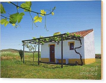 Cute House Wood Print by Carlos Caetano