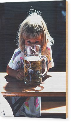 Wood Print featuring the photograph Cute Little Girl At Beer Garden Munich by Tom Wurl