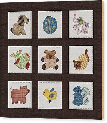 Cute Nursery Animals Baby Quilt Wood Print by Tracie Kaska
