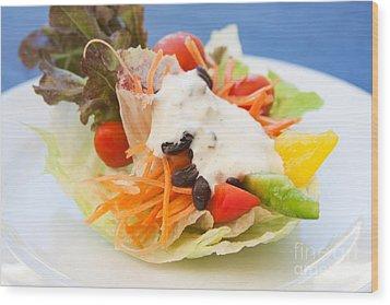 Cute Salad Wood Print by Atiketta Sangasaeng