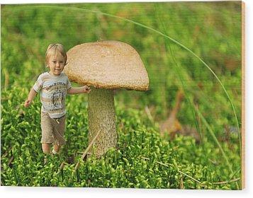 Cute Tiny Boy Playing In The Forest Wood Print by Jaroslaw Grudzinski