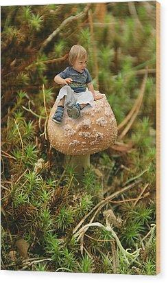 Cute Tiny Boy Sitting On A Mushroom Wood Print by Jaroslaw Grudzinski