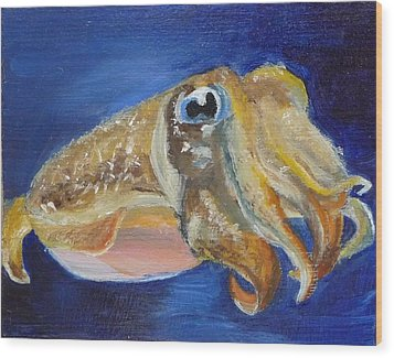 Wood Print featuring the painting Cuttle Fish by Jessmyne Stephenson