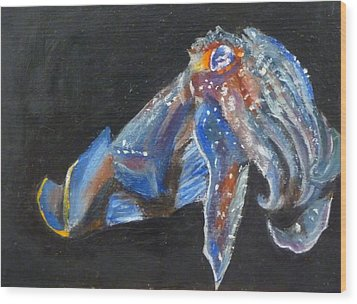 Wood Print featuring the painting Cuttlefish II by Jessmyne Stephenson