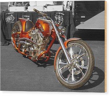 Cycle Orange Wood Print by Sarah McKoy