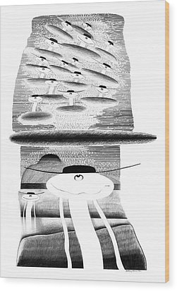 Cycloptic Invasion Wood Print by Tony Paine