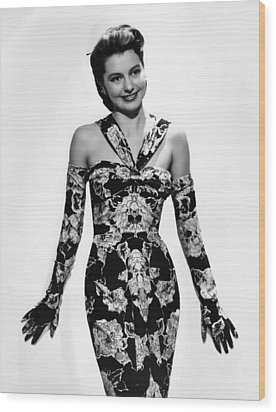 Cyd Charisse Modeling Flowered Evening Wood Print by Everett