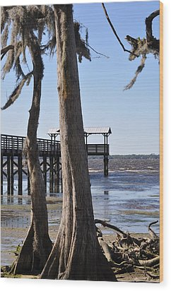 Cypress And Dock At Low Tide Wood Print by Tiffney Heaning
