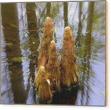 Cypress Family Of Monks Wood Print by Mindy Newman