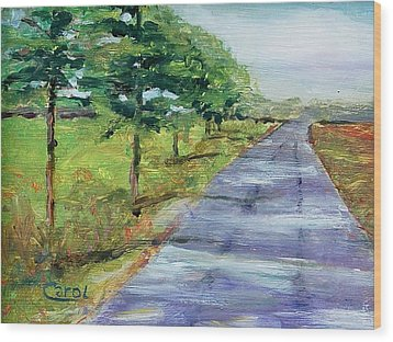 Wood Print featuring the painting Cypress Lane by Carol Berning