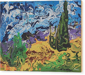 Cypress With Wheat Field After Van Gogh Wood Print
