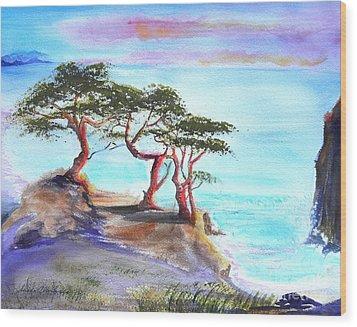 Cyprus Trees On California Coast Wood Print by Susan  Clark