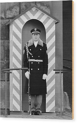 Czech Soldier On Guard At Prague Castle Wood Print by Christine Till