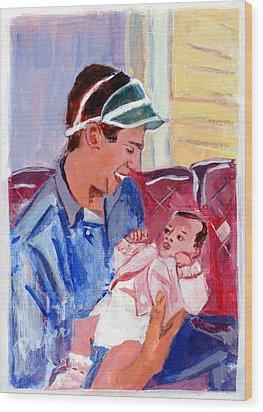 Dad And Me In Hazleton Pennsylvania Wood Print by Elzbieta Zemaitis