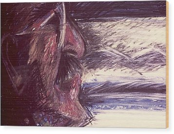 Wood Print featuring the mixed media Dad Driving  by Carrie Maurer
