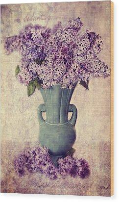 Daddy's Lilacs Series Vi Wood Print by Kathy Jennings