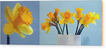Daffodils Wood Print by Cathie Tyler