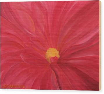 Wood Print featuring the painting Dahlia Macro by Janet Greer Sammons