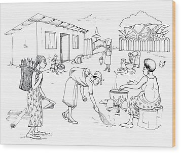 Daily Life In South And Center Cameroon 10 Wood Print by Emmanuel Baliyanga