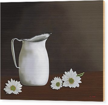 Daisies And Pitcher Wood Print by Tim Stringer