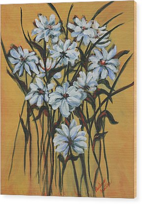 Wood Print featuring the painting Daisies by Pauline  Kretler