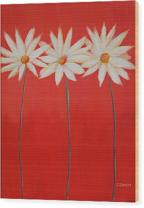 Daisy Trio - Red Wood Print by Cheryl Sameit