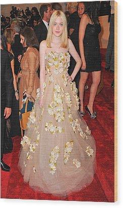 Dakota Fanning Wearing A Dress Wood Print by Everett