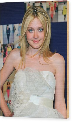 Dakota Fanning Wearing Marchesa Dress Wood Print by Everett