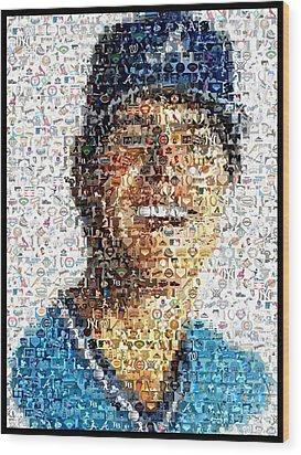 Dale Murphy Mosaic Wood Print by Paul Van Scott