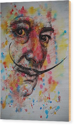 Wood Print featuring the painting Dali by Lynn Hughes