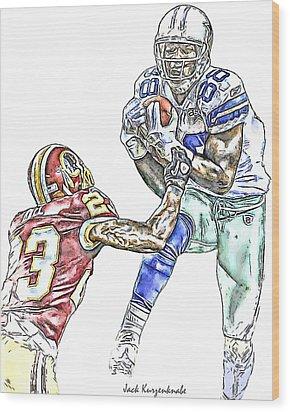 Dallas Cowboys Dez Bryant Washington Redskins Deangelo Hall Wood Print by Jack K