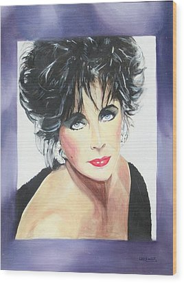 Dame Elizabeth Taylor Wood Print by Cyndi Brewer