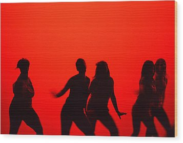 Dance Silhouette Group Wood Print