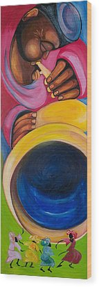 Dance To My Tune Wood Print by Chibuzor Ejims