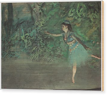 Dancer On The Stage Wood Print by Edgar Degas