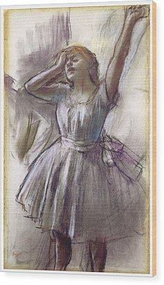 Dancer Stretching Wood Print by Edgar Degas