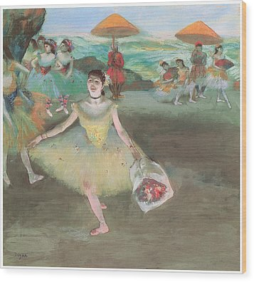 Dancer With A Bouquet Bowing Wood Print by Edgar Degas