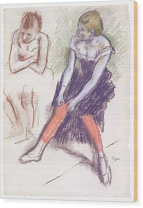 Dancer With Red Stockings Wood Print by Edgar Degas