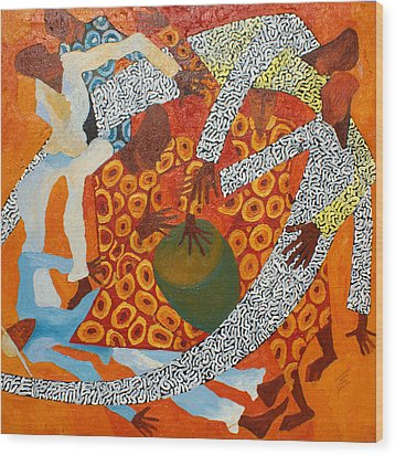 Dancers IIi Wood Print by Anina von Wachtel Diani Beach Art Gallery