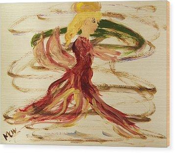 Dancing Angel Wood Print by Mary Carol Williams