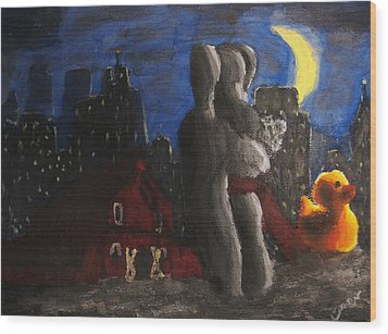 Wood Print featuring the painting Dancing Figures With Barn Duck And Cityscape Under The Moonlight.  by M Zimmerman