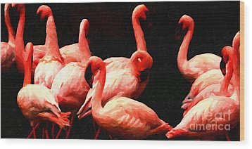 Dancing Flamingos Wood Print by Wingsdomain Art and Photography